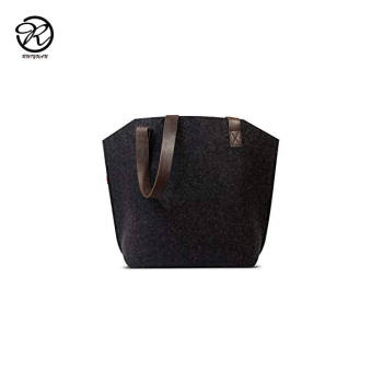Wholesale grey felt women hand bag with leather side