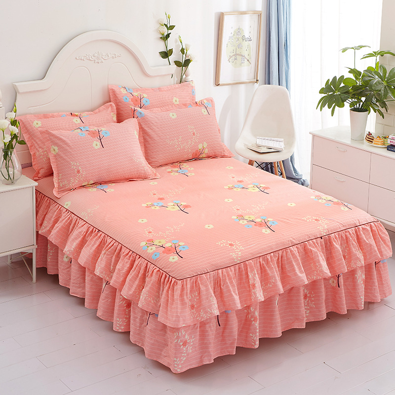 Bed Skirts Set Double Layer Bedspread Floral Printed  Bed sheet  Bilateral Bed Skirt + 2 Pair Of Pillowcase bedsheets