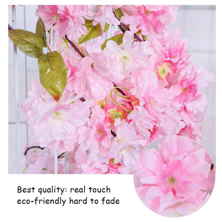 High quality custom artificial fabric pink hanging wedding event decoration cherry blossoms sakura flower garland for wedding
