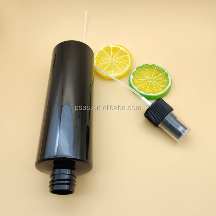 250ml Black PET plastic round cosmetic fine mist spray bottle