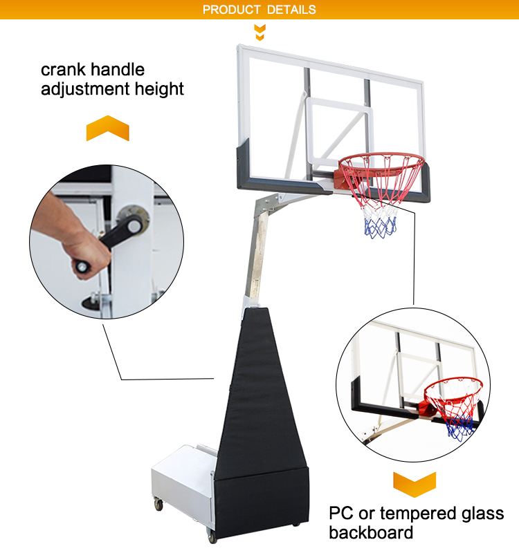 A-G6L Professional Portable Adjustable  Basket Ball Hoop With Steel Ballast Base And 45 Rim For Outdoor Movable Basketball Stand