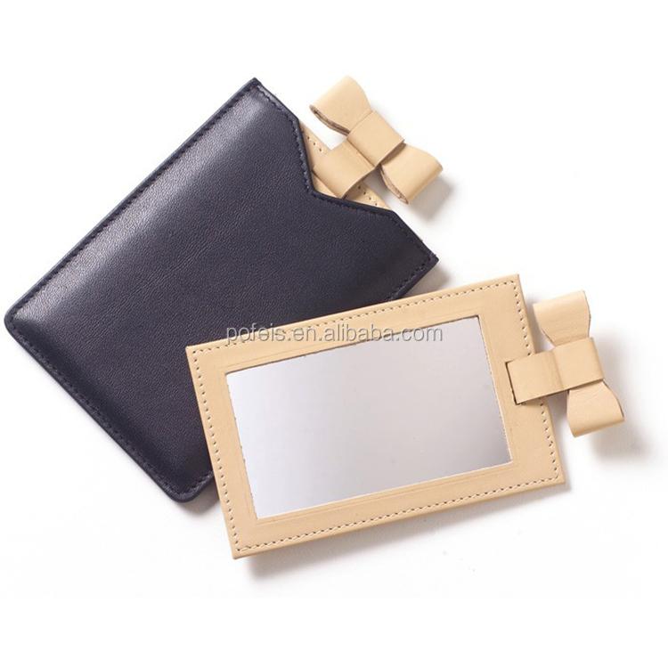 Espelho de bolso portátil PU couro maquiagem espelho de maquilhagem