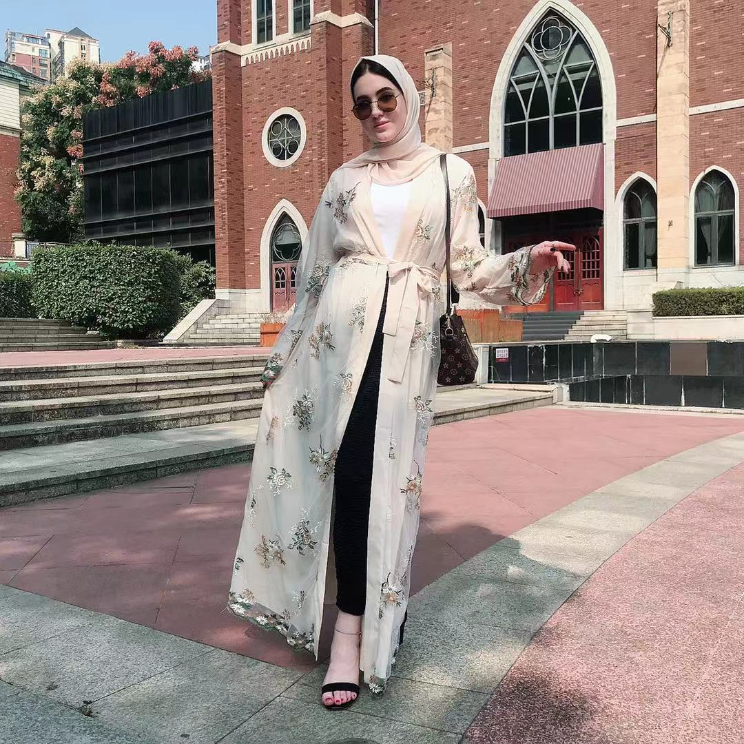 Wholesale Ramadan muslim women open long maxi dress abaya lace embroidery robe