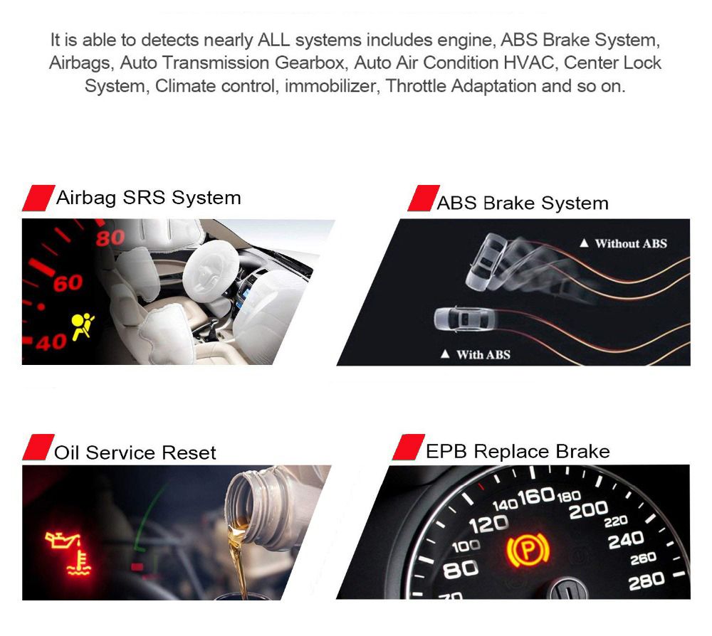 KW350 Konnwei Car Diagnostic Scanner Support Airbag SRS ABS Brake Oil Reset EBP