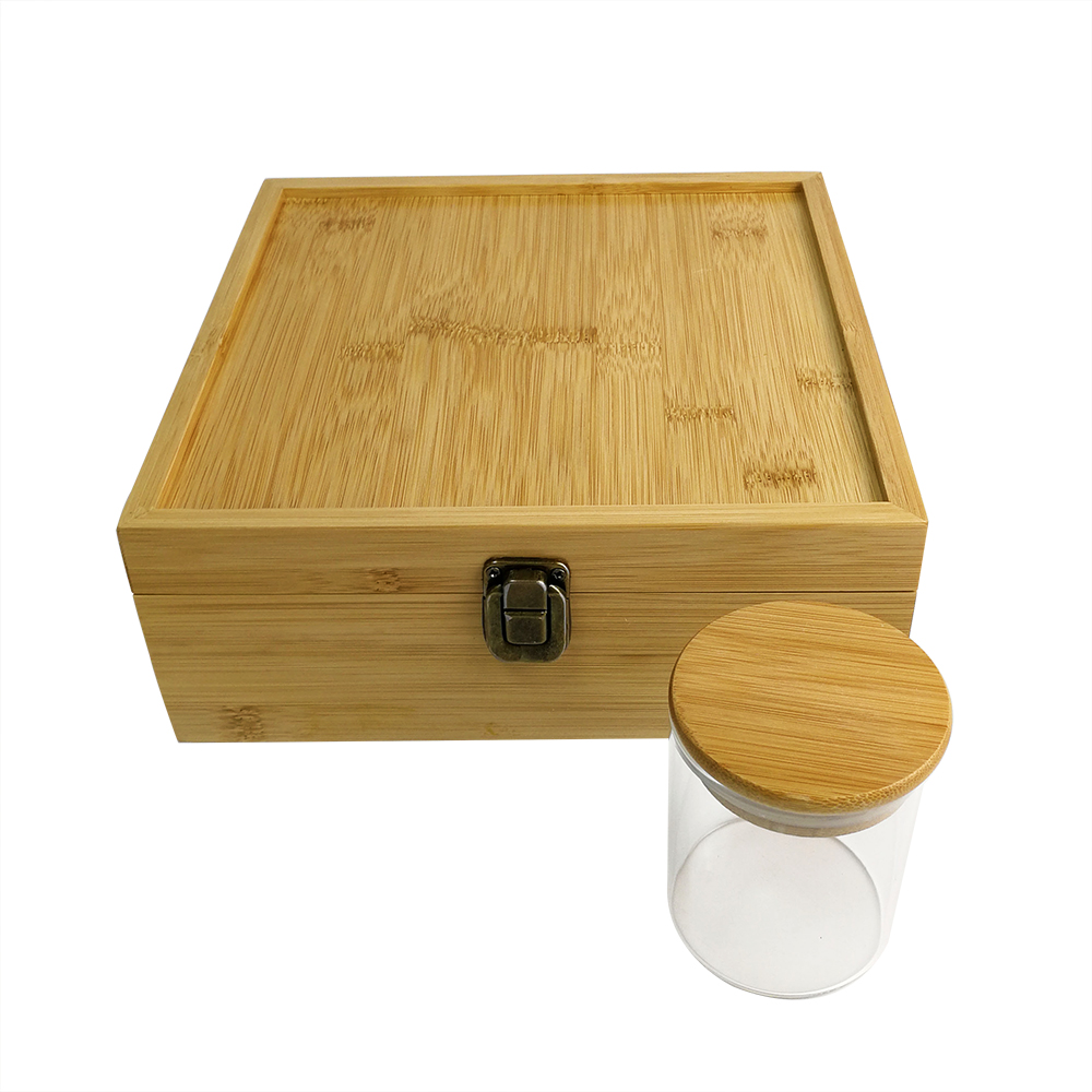 Bamboo stash weed rolling tray box with glass jar