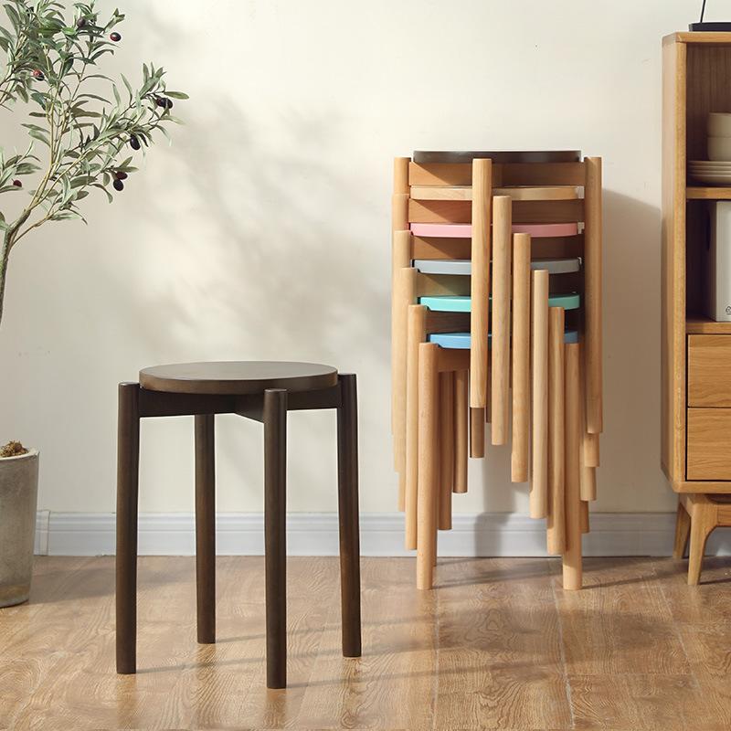 के लिए लकड़ी खाने की श्रृंगार कुर्सी दौर Stackable लकड़ी मल रसोई कमरे में रहने वाले
