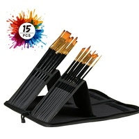 Wholesale 15 pcs/set Art supplies Paint Brush Set for Artists, Students and Beginners, with Stand pop-bag