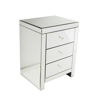 Bedroom Furniture 3 Drawer Bedside Table Silver Mirrors Europe Design Night Stand Accent Table