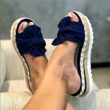 Летние женские тапочки; Женская обувь на плоской подошве с бантиком из пеньковой ткани; Женская удобная обувь на платформе; Женская однотон...(Китай)