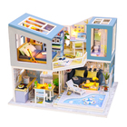 Kit White And Blue Classic Wood Dollhouse DIY Kit Souvenir Girl Gifts Miniature Furniture Doll House Decorations For Home