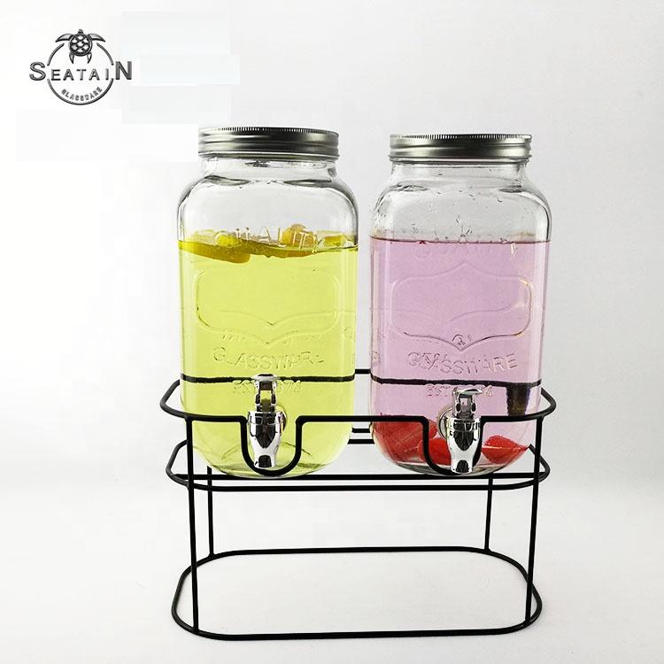 Dispensador de bebidas de cristal frías y frías de 3,5 l con soporte de Metal