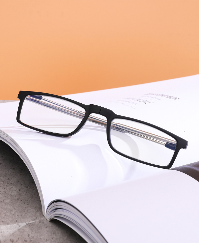 Low MOQ TR90 Anti Blue Light Readers Metal Folding Foldable Reading Glasses with Case