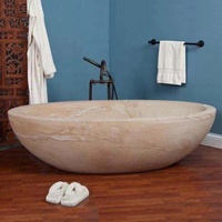 Hotel Home Modern Hand Carving Natural Marble Stone Freestanding Bathtub