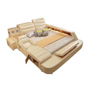 Bedroom furniture  Multifunction storage Massage leather sofa Bed With USB Bluetooth Speaker