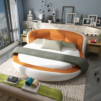King Size Modern Round Platform Bed With Stylish Headboard Mixed Colors In Leather Wjx A096 View Round Bed Leather Wjx Product Details From Foshan Wjx Home Furnishing Co Ltd On Alibaba Com