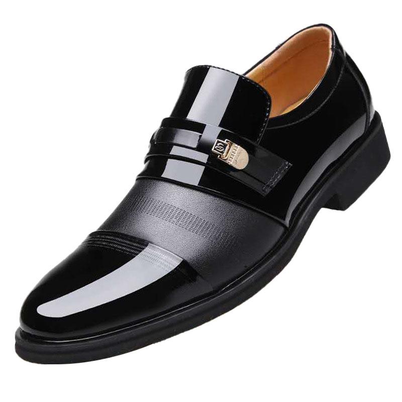 प्लस आकार 48 पर्ची पर व्यापार औपचारिक पोशाक जूते पुरुषों चमड़े के जूते