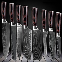 8pcs Kitchen Chef Knives Set 8 inch Japanese 7CR17 440C High Carbon Stainless Steel Damascus Laser Pattern Slicing Santoku Tool