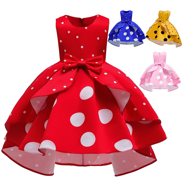 satin korean <strong>fashion</strong> <strong>girls</strong>' party dresses 8 years <strong>kid</strong> with polka dot