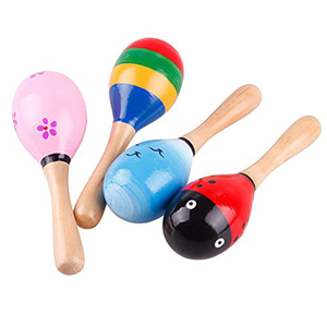 Wholesale Custom Bulk Colorful Wooden Fiesta Maracas WIth Musical Instrument Functions