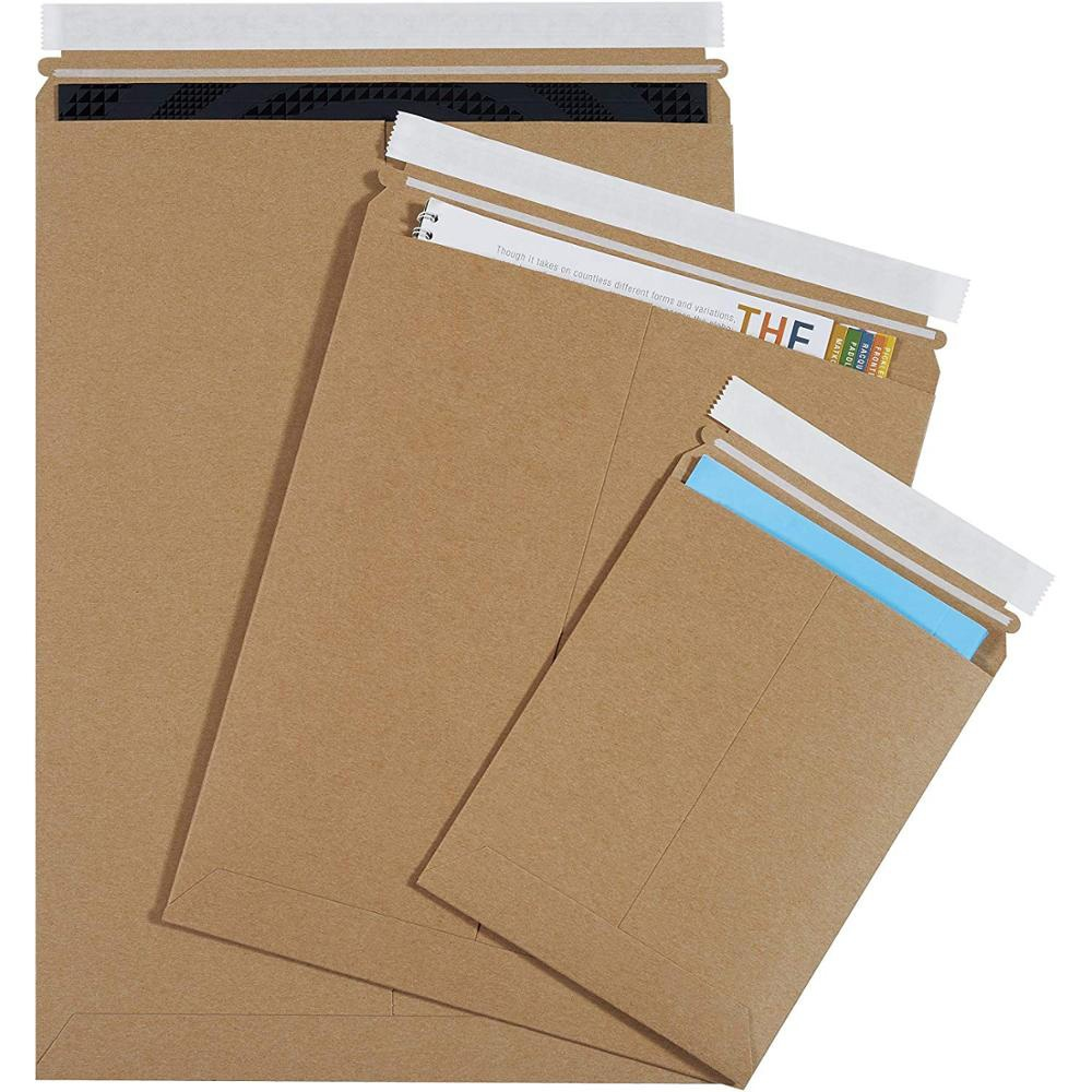 Rigid Photo Envelopes Printed Cardboard Mailer Envelope Recycled Stay Flat Envelope For Packaging