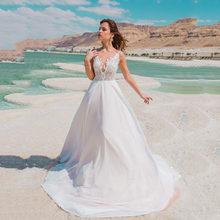 Пляжное свадебное платье 2020 простое кружевное платье на тонких бретельках для невесты в стиле бохо сексуальное свадебное платье с аппликац...(Китай)