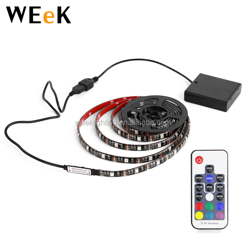 Battery Powered USB LED Strip Light Kit 1meter RGB Light Strip 5050SMD 30LEDs IP65 Waterproof with 17keys RF Remote Controller
