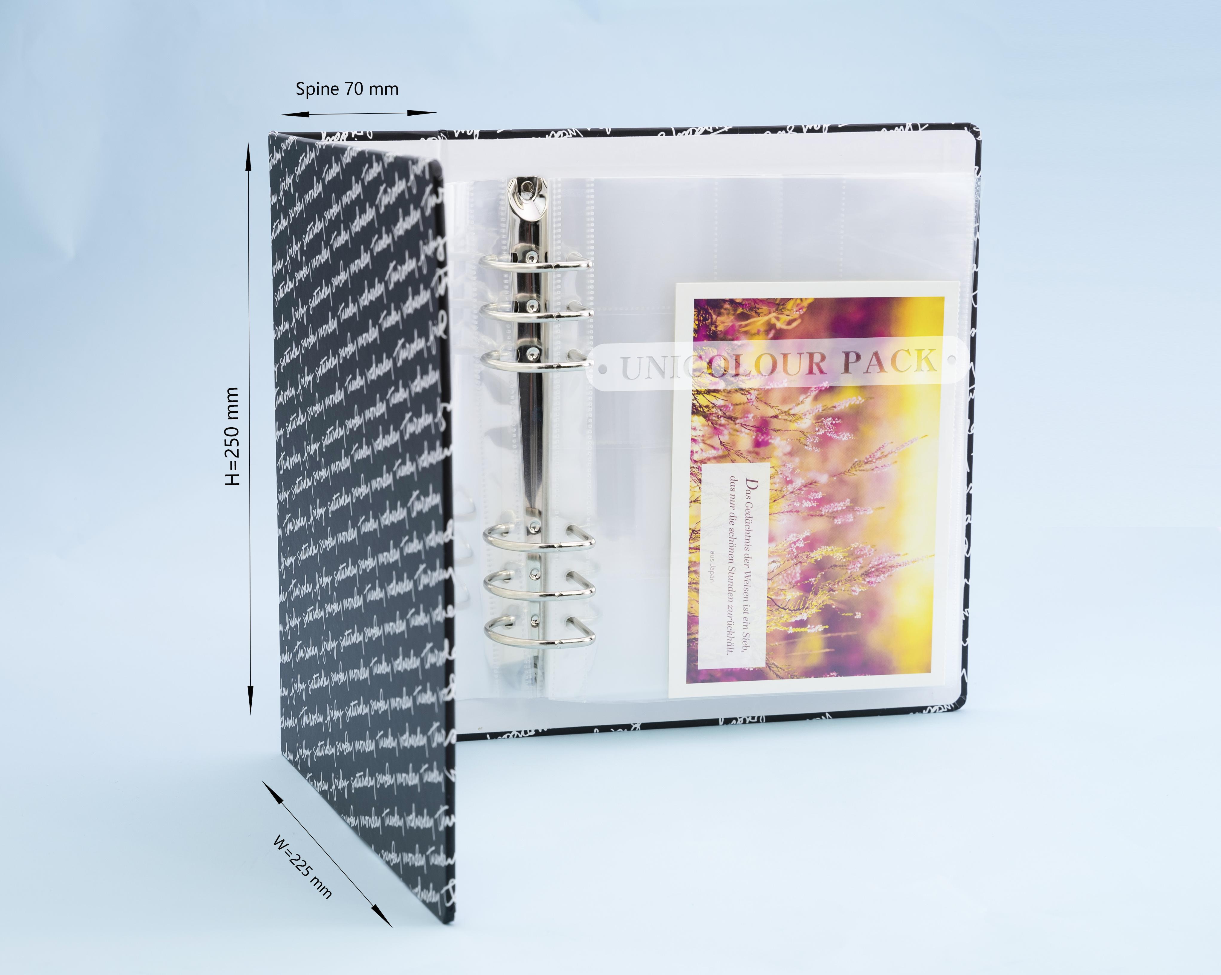 Custom design metal mechanism 3 ring binder with plastic album pocket