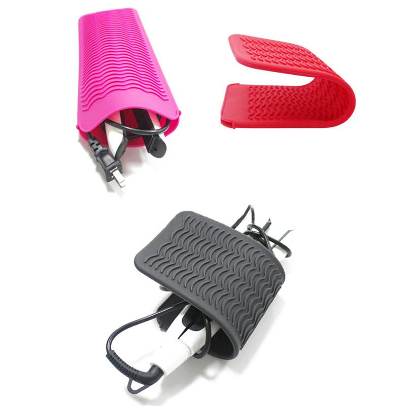 Atacado personalizável uso resistente ao calor, esteira de isolamento de silicone, alisador de cabelo, sacos de almofada de ferro ondulado