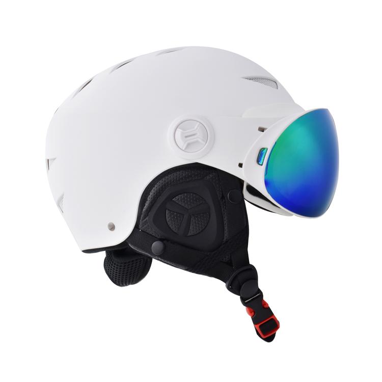 Lens adjustment system with interchangeable magnetic lens ski snow helmet