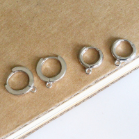 Wholesale 925 sterling silver accessory earrings in circle ring shape for semi-finished earring making