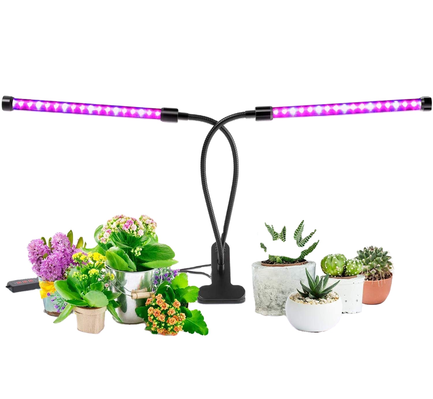 Grow Light, 40W Dual Head Timing 36 LED 5 Dimmable Levels Plant Grow Lights for Indoor Plants with Red Blue Spectrum, Adj