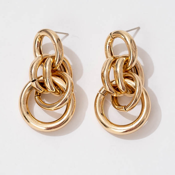 925 <strong>Sterling</strong> <strong>silver</strong> Exaggerated Special Multi Circle link 18K Gold Special <strong>Drop</strong> Stud <strong>Earrings</strong> For Women Jewelry