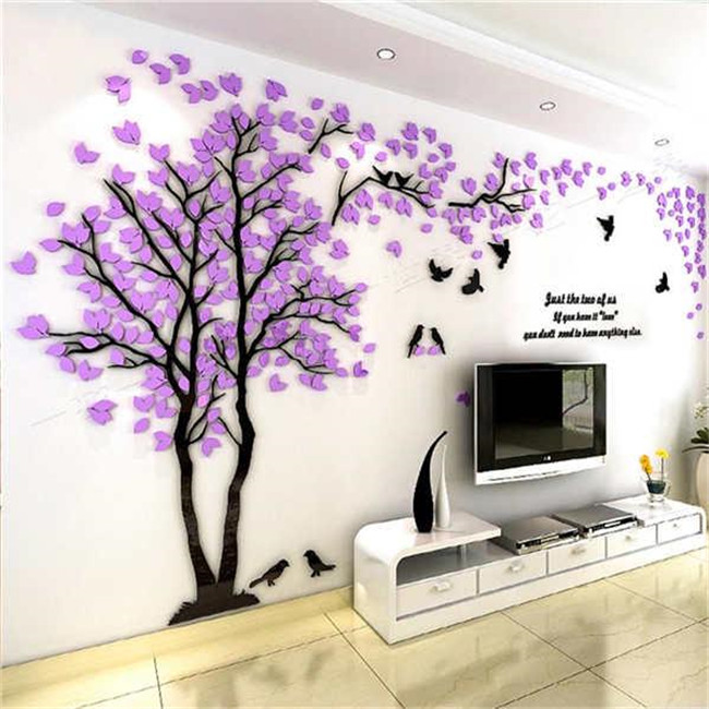 3D Streo Wall Stickers Acrylic Green Tree Wall Stickers Bedroom TV Background Wall Stickers