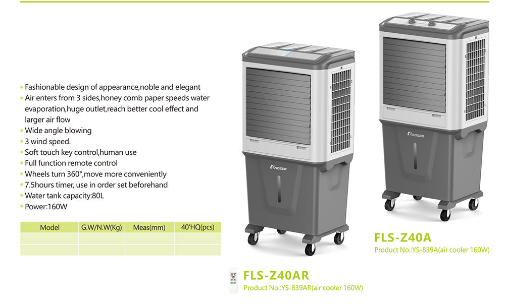 160W 80L Water Tank Industrial Evaporative Air Cooler