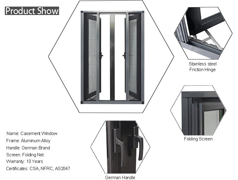Black Aluminum double hinged triple casement window with folding screen