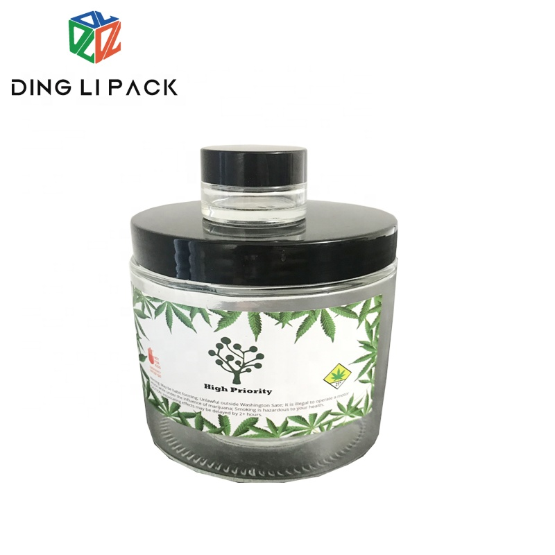 Smell proof storage 45ml 100ml 180ml food grade glass jar for packing honey weed container with metal lid