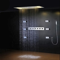 Bathroom Ceiling Led Thermostatic Shower Faucets Set Rainfall Waterfall Multi Function Shower Head With 5 Way Shower Diverter