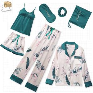 TuKIIE Free Shipping 7 Pcs/lot Women Silk Satin Printing Long Sleeve Loungewear Women Sleepwear Homewear PJ Pajamas Sets