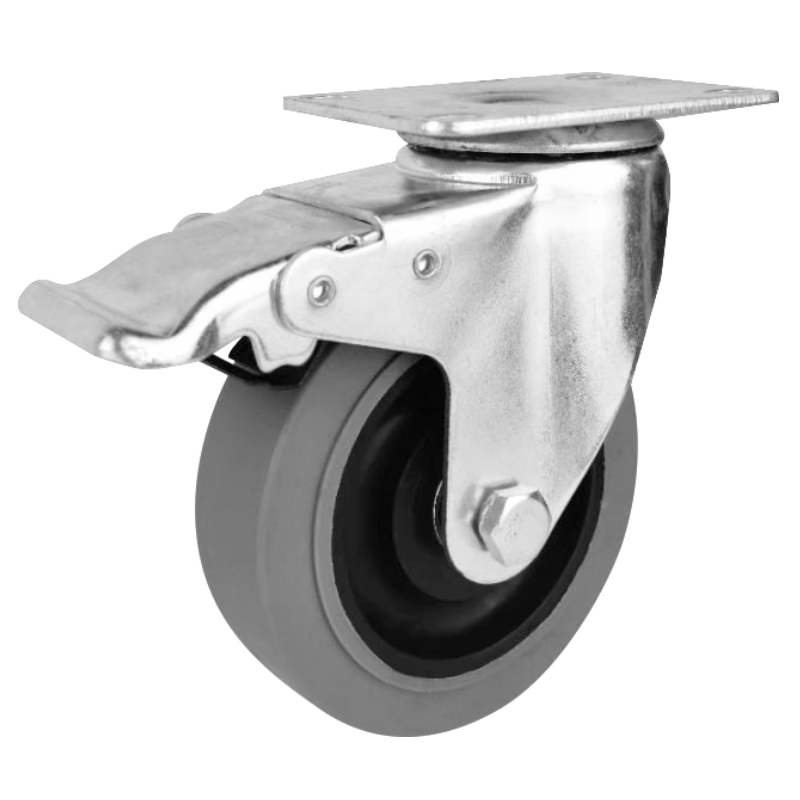 75mm 100mm 125mm gray tpr electrically conductive swivel caster wheels with lock Conductive caster