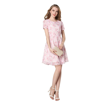 Girls' pink A-Line knee-length dress short sleeve polyester fiber dress with ramage