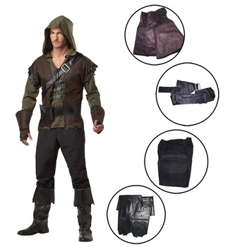 ecowalson Mens Robin Hood Hooded Medieval Archer Fancy Dress Halloweeen Costume