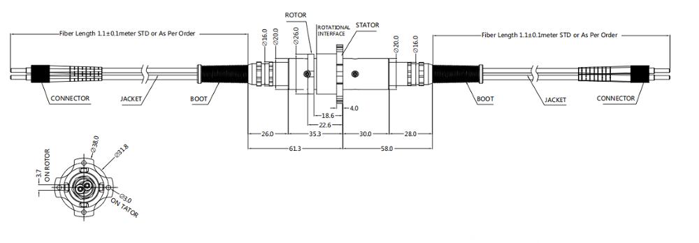 Poder óptico durable 23dBm del canal 300rpm IP65 IP67 de la junta 6 del cable de fribra óptica 0