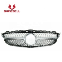 Silver Front grill Diamond grille with camera hole for Mercedes Benz W205 C CLASS C200 C250 C300 C350 2015-2018