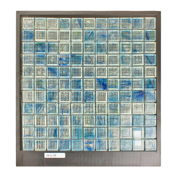 Wavy Tiles Wall Decoration Indoor Strips Resin Random Premium  blue Transparent Glass Mosaic