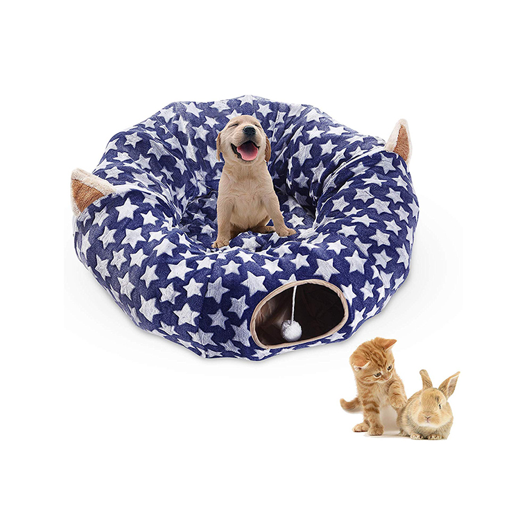 Large Cat Tunnel Bed, Pop Up Bed, Cat Toys Tunnel Bed with Cushion Tube for Large Cats Kittens Kitty Small Puppy