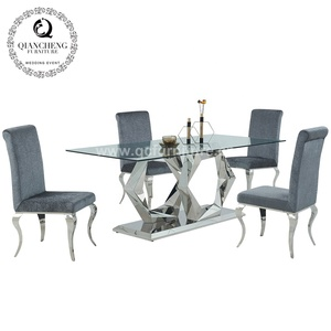 Modern home furniture tempered glass top stainless steel base dining table