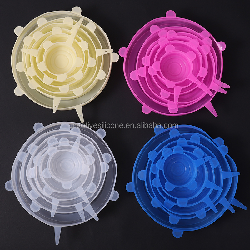 6 pack Silicone stretch glass lid sealing cover for various size cup bowl and fresh fruit