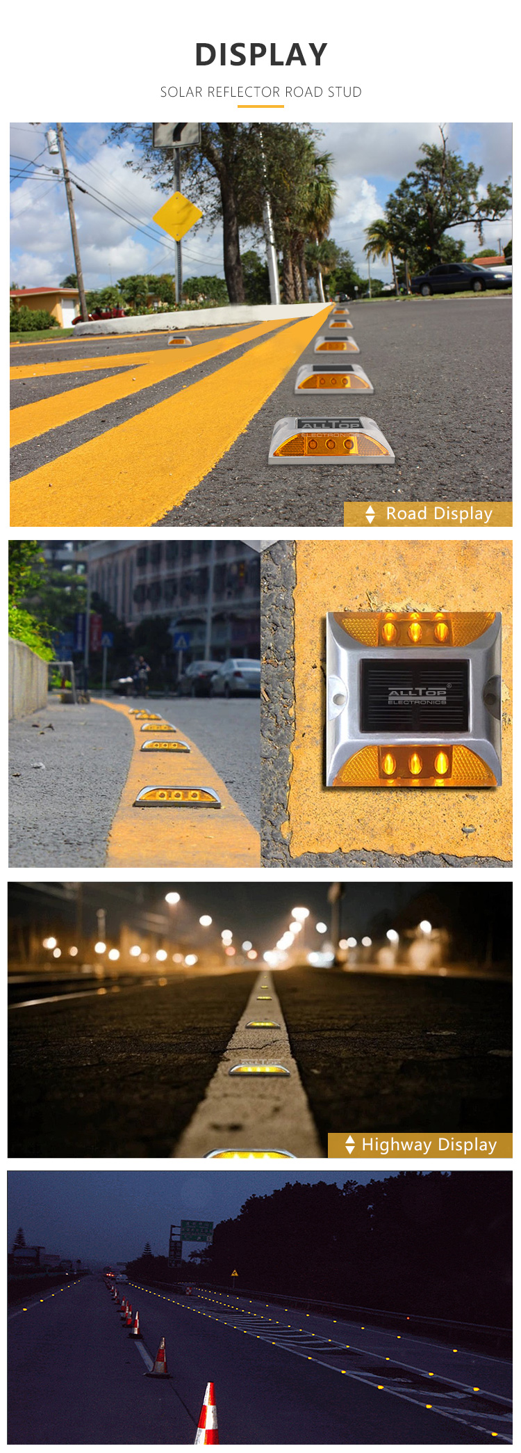 ALLTOP high lumens spike light outdoor waterproof solar reflector road strud led traffic light
