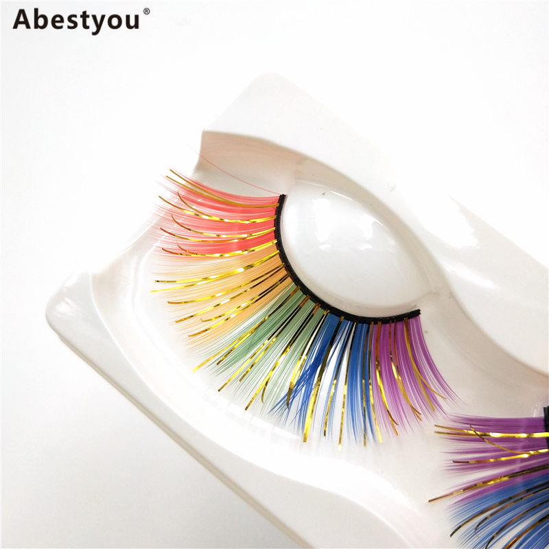 Abestyou Thick Colored Real Mink 3D Eyelashes Dramatic Super Long Fluffy Color False Eye Lashes for Halloween Cosplay
