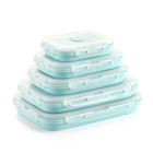 Silicone collapsible microwavable lunch box food storage container 4pcs set